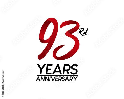 Valokuva  93 anniversary logo vector red ribbon