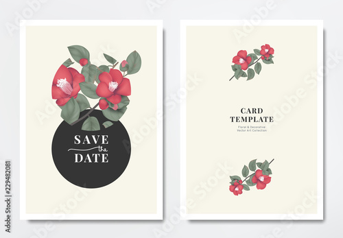 Fotografia Botanical wedding invitation card template design, red Japanese camellia flowers