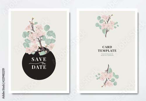 Photo  Botanical wedding invitation card template design, pink sakura flowers with Silv