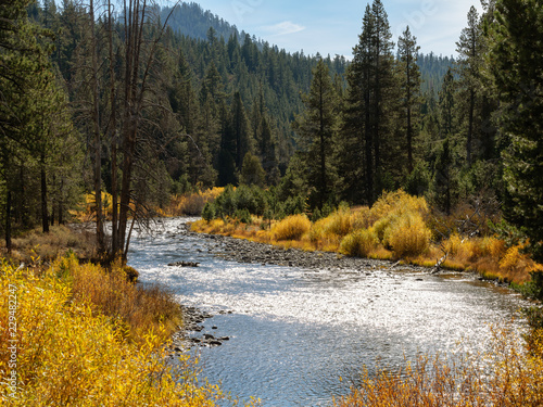 Truckee River in Northern California, with Autumn colors landscape photograph.