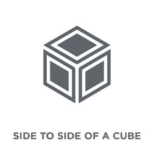 Side To Side Of A Cube Icon From Geometry Collection.