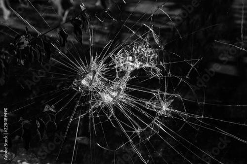 Fotografie, Tablou  Glasbruch Sachbeschädigung