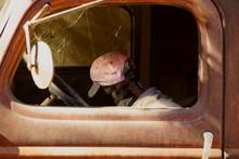 Halloween Skeleton Mechanic Working On An Old Rusty Truck Motor