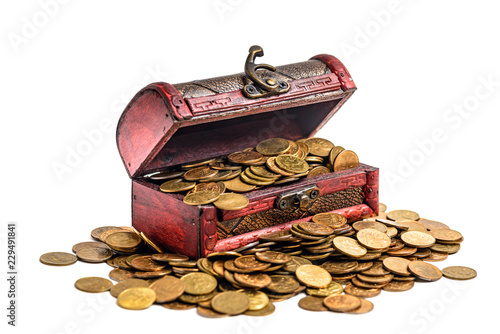Fototapeta Treasure chest with golden coins