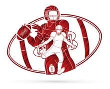 American Football Player, Sportsman Action, Sport Concept Graphic Vector.