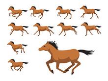 Animation Sequence Horse Running Cartoon Vector Illustration