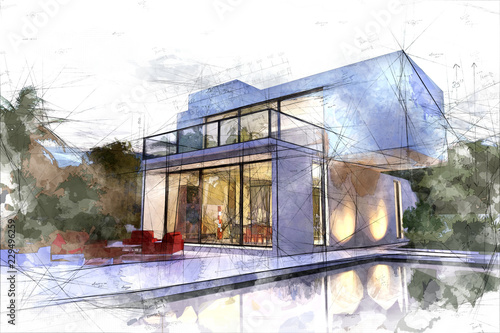Fotografía  Draft of white villa with pool