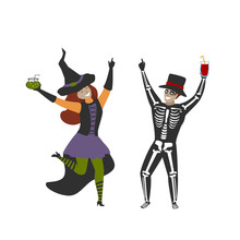 Man And Woman Dressed In Halloween Skeleton And Witch Costumes Celebrating Party Isolated Vector Illustration Scene
