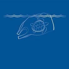 Синий фон для текста с концептуальной иллюстрацией на тему загрязнения океана с изображением плывущего полиэтиленового пакета и черепахи внутри него.