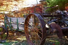 Farm Machinery Parked Under The Maple Trees In The Fall