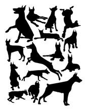 Doberman Dog Animal Silhouette...