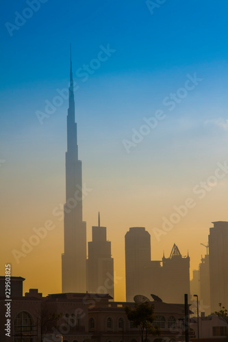 Dubai city skyline in the morning, sunrise