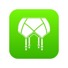 Underwear Icon Green Vector Isolated On White Background