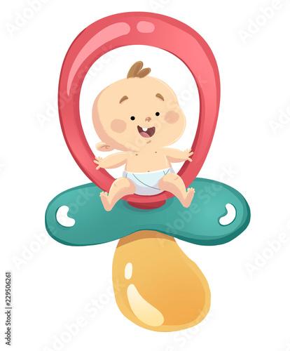 Fotografie, Obraz bebe con chupete gigante