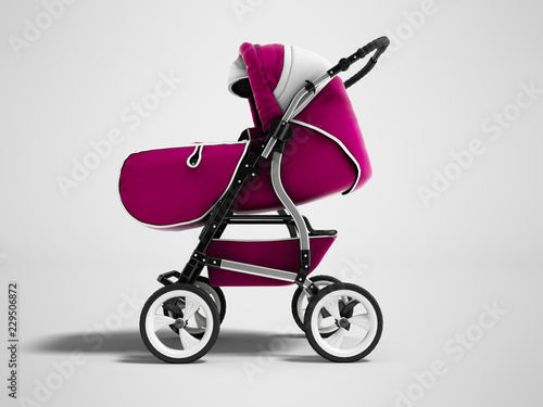 Photo  Modern pink baby stroller transformer all-season 3d render on gray background wi