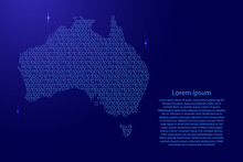 Australia Map Abstract Schematic From Blue Ones And Zeros Binary Digital Code With Space Stars For Banner, Poster, Greeting Card. Vector Illustration.