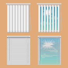 Window Blinds Mockup Set. Vector Realistic Illustration Windows With Open And Close Horizontal And Vertical Blind Curtains.