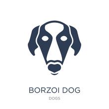 Borzoi Dog Icon. Trendy Flat V...