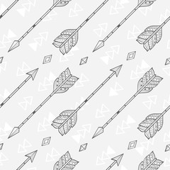 Fototapeta Boho Vector seamless pattern with tribal arrows and crystals, black and white grayscale, boho style pattern, vector background