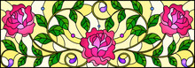 Illustration In Stained Glass Style With Pink Roses Branches On Yellow  Background, Rectangular Image