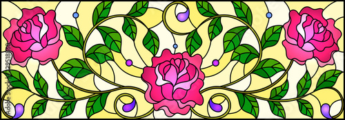 Fotografie, Obraz  Illustration in stained glass style with pink roses branches on yellow  backgrou