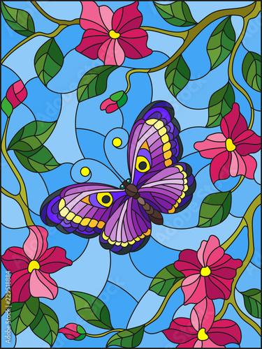 ilustracja-w-stylu-witrazu-z-jasnym-motyla-na-tle-kwiatow