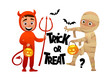 Cartoon children devil and mummy costume trick or treat background