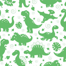 Seamless Pattern With Dinosaurs And Leaves, Green Silhouettes Icons On A White Background