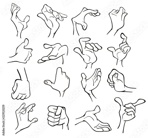 Deurstickers Babykamer A Set of Cartoon Illustrations. Hands with Different Gestures for you Design. Coloring Book. Outline