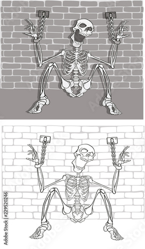 Staande foto Babykamer Illustration of a Prisoner Skeleton . Cartoon Character. Outline