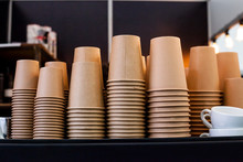 Stack Of Disposable Coffee Cup