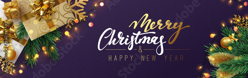 Christmas banner, Xmas sparkling lights garland with gifts box and golden tinsel Wallpaper Mural