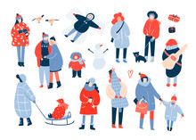 Winter Activities. Various People. Hand Drawn Colored Vector Set. All Elements Are Isolated