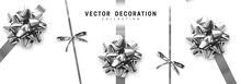 Bows Silver Realistic Design. ...