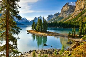 View Beautiful Spirit Island in Maligne Lake, Jasper National Park, Alberta, Canada