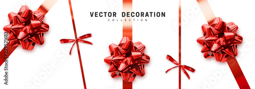 Obraz Bows red realistic design. Decorative gift bows with ribbons isolated on white background - fototapety do salonu