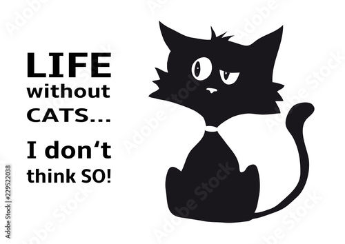 Tableau sur Toile Cynical cat with quote Life without cats I dont think so, funny animal, isolated