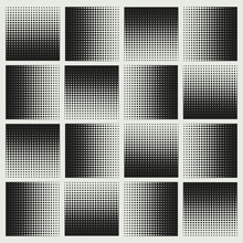 Halftone Squares Mosaic In Silver Shades