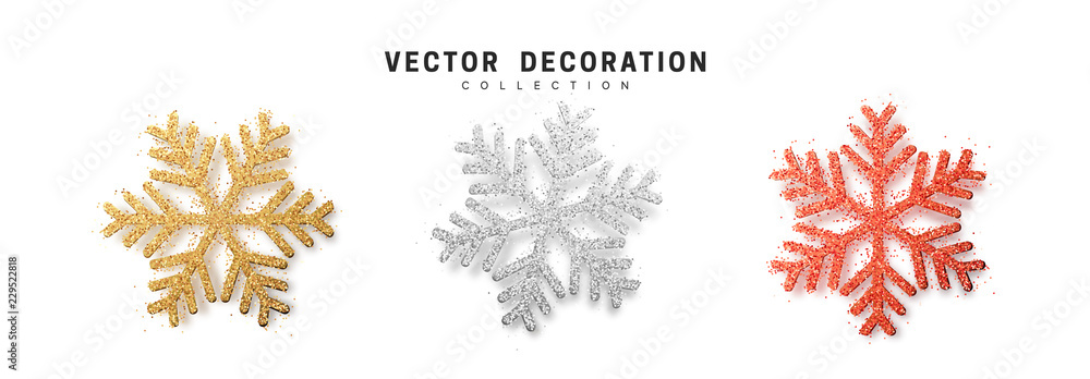 Fototapeta Christmas decoration, golden and silver and bright red glitter covered snowflake.