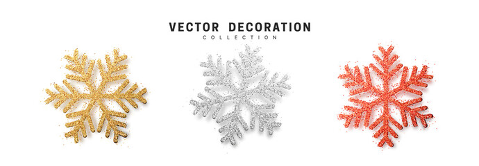 Christmas decoration, golden and silver and bright red glitter covered snowflake.