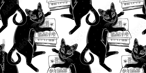 obraz PCV Smart black cat reading the magic book seamless pattern.
