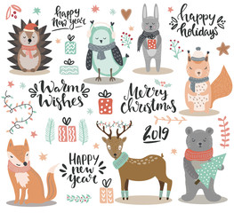 Set of christmas theme design elements - hand written elements, woodland cute animals, gifts and florals