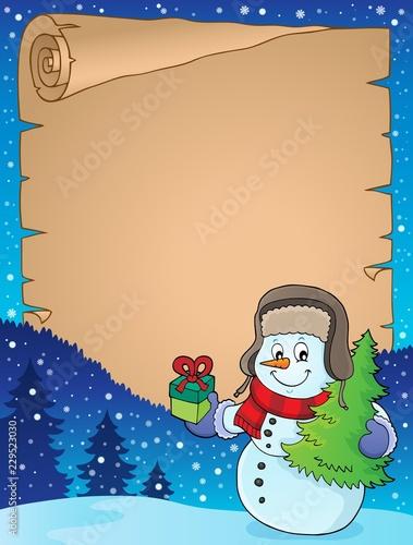 Foto op Aluminium Voor kinderen Christmas snowman subject parchment 1
