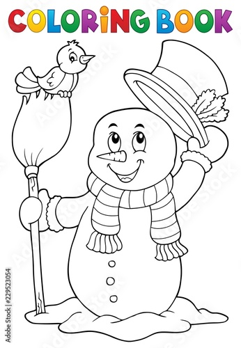 Coloring book snowman topic 4