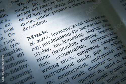 DICTIONARY PAGE SHOWING DEFINITION OF THE WORD MUSIC - Buy this