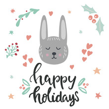 Happy Holidays Lettering And R...