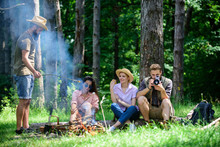 Company Hikers Relaxing At Picnic Forest Background. Spend Great Time On Weekend. Take A Break To Have Snack. Company Friends Relaxing And Having Snack Picnic Nature Background. Camping And Hiking
