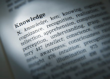 DICTIONARY PAGE SHOWING DEFINITION OF THE WORD KNOWLEDGE