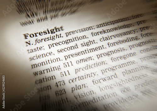 DICTIONARY PAGE SHOWING DEFINITION OF THE WORD FORESIGHT - Buy this