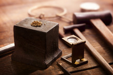 Gold Nuggets On A Old Anvil, W...